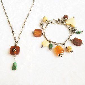 Silver with natural stones necklace & bracelet set